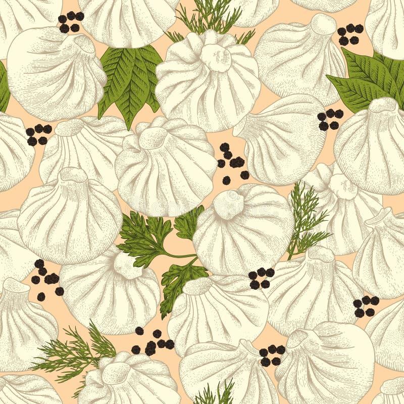 Kinkali, manti, dumplings. Geza, Jiaozi. Pelmeni. Meat dumplings. Food. Pelmeni. Meat dumplings. Food. Dill, royalty free illustration