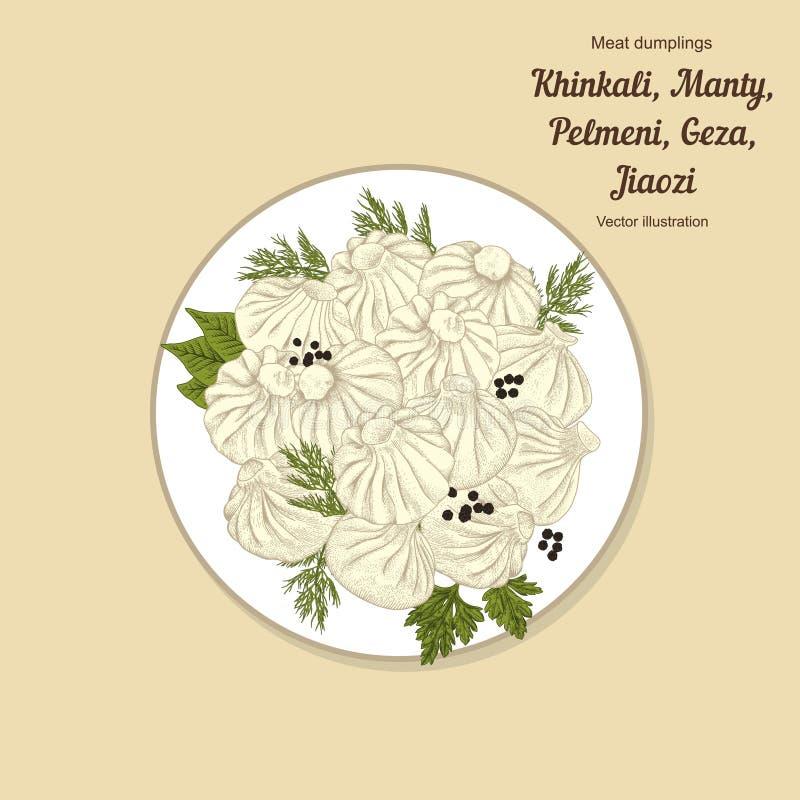 Kinkali, manti, dumplings. Geza, Jiaozi. Pelmeni. Meat dumplings. Food. Pelmeni. Meat dumplings. Food. Dill, stock illustration