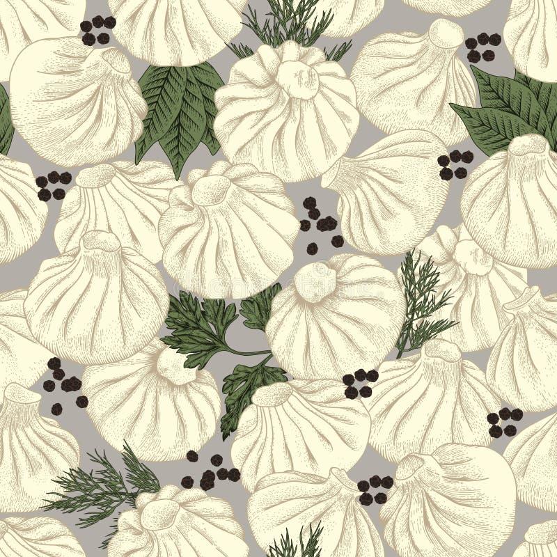 Kinkali, manti, dumplings. Nikuman. Geza, Jiaozi. Pelmeni. Seamless background. stock illustration