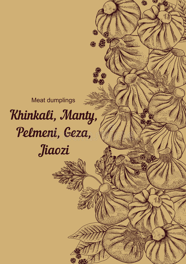 Kinkali manti, klimpar Geza Jiaozi Pelmeni Rysk pelmeni på en platta Mat royaltyfri illustrationer