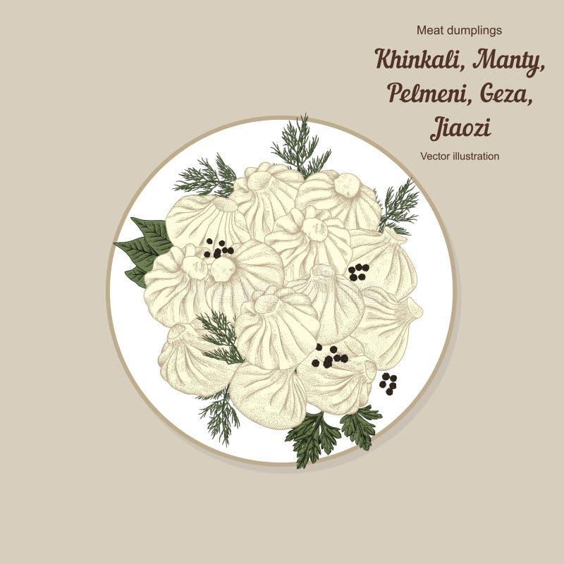Kinkali manti, klimpar Geza Jiaozi Pelmeni Rysk pelmeni på en platta Mat Pelmeni Rysk pelmeni på en platta Mat Dill, stock illustrationer