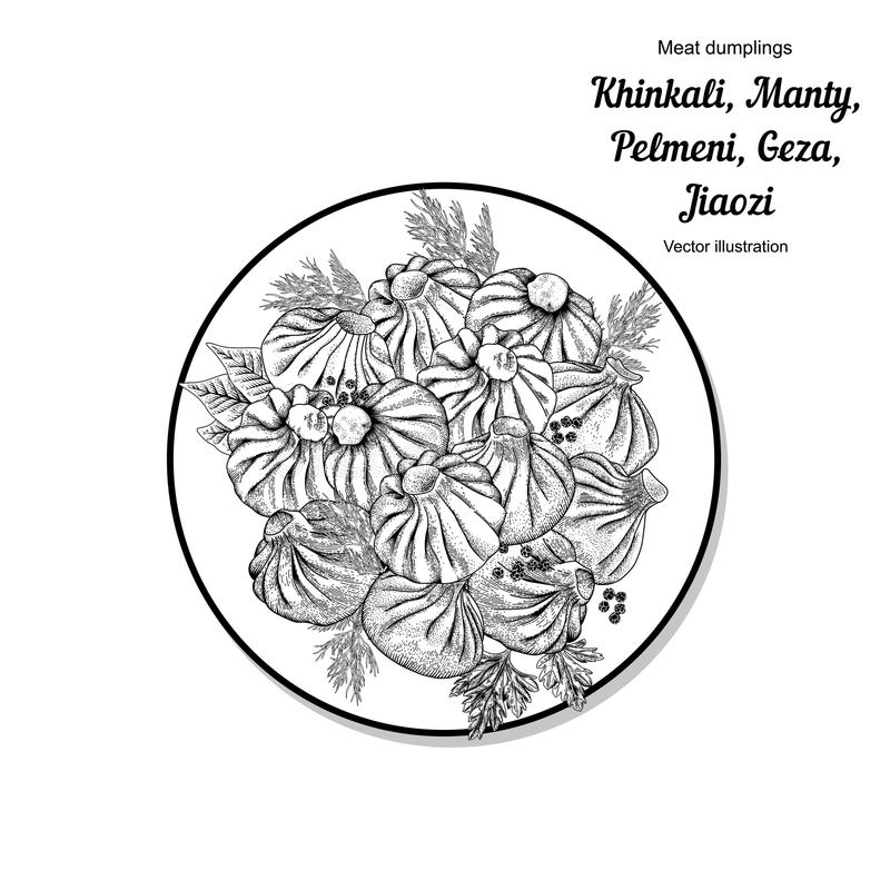 Kinkali, manti, kluchy Geza, Jiaozi Pelmeni Mięsne kluchy Jedzenie Pelmeni Mięsne kluchy Jedzenie Koper, royalty ilustracja