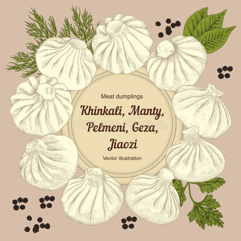 Kinkali, Nikuman, manti, bolas de masa hervida Geza, Jiaozi Pelmeni Bolas de masa hervida de la carne Alimento stock de ilustración