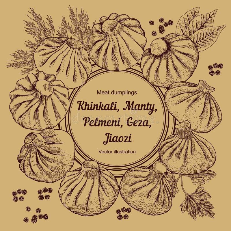 Kinkali, Nikuman, manti, bollen Geza, Jiaozi Pelmeni Russische pelmeni op een plaat Voedsel vector illustratie