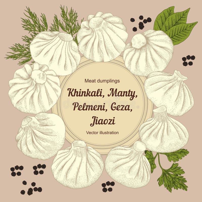 Kinkali, Nikuman, manti, bollen Geza, Jiaozi Pelmeni Russische pelmeni op een plaat Voedsel stock illustratie