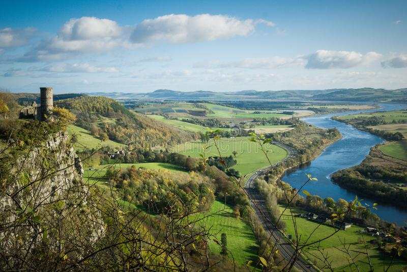 Kinnoull Hill tower ruins overlooking the River Tay, Perth stock photo