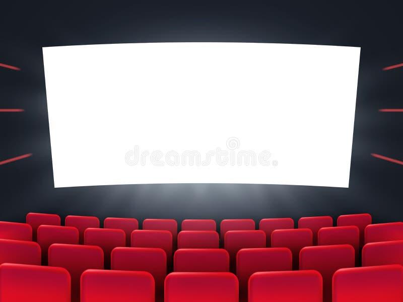 Kino ekran z czerwonymi siedzeniami royalty ilustracja