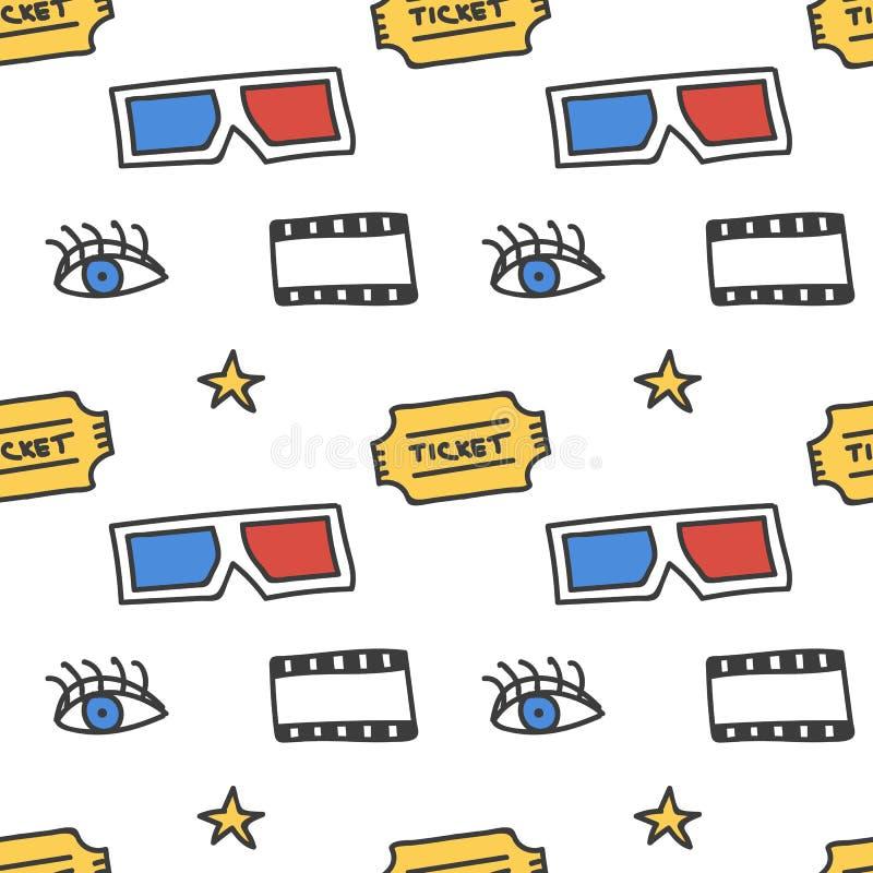 Kino, film doodles bezszwowego deseniowego tło royalty ilustracja