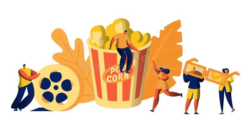 Kino-Film-Zeit mit Popcorn-und Getränk-Wochenenden-Freizeit Junge Leute mit Gläsern 3d Mann-Stoß-Stehfilm Mädchen Carry Ticket stock abbildung