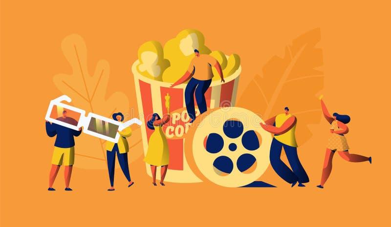Kino-Film-Zeit mit Popcorn-und Getränk-Wochenende Junge Leute in den Gläsern 3d Frau Carry Ticket Oscar Award Cinematography lizenzfreie abbildung