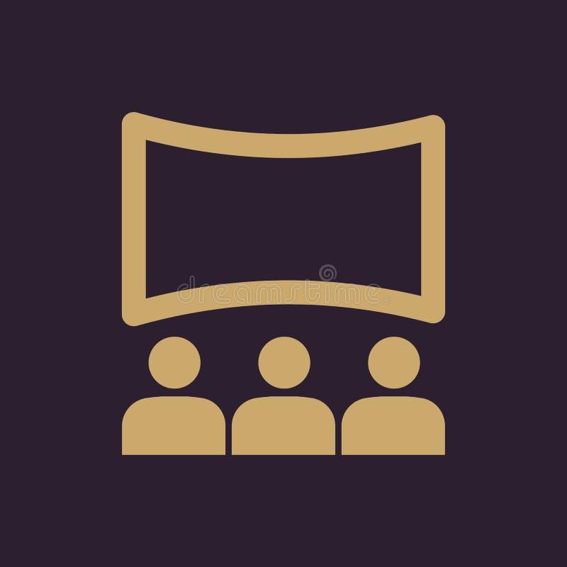 Kino ikona Teatr i przedstawienie, kino, prezentacja symbol mieszkanie ilustracja wektor