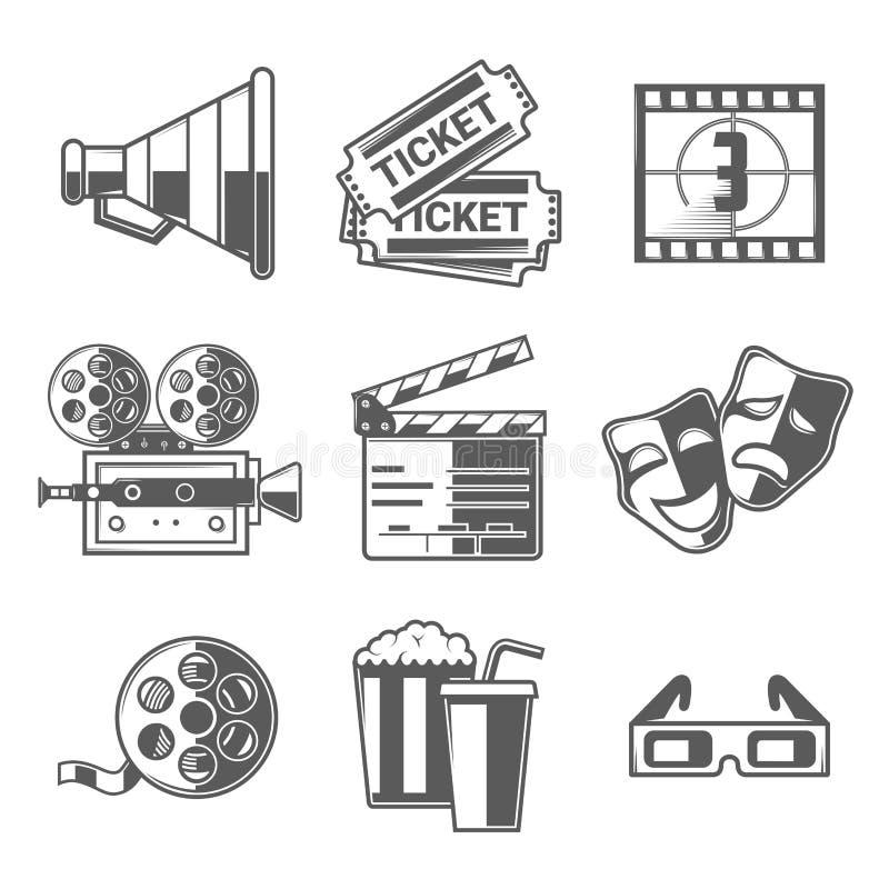 Kino-Ikonen eingestellt (Megaphon, Karten, Count-down, Kamera, Scharnierventil-Brett, Masken, Spule, Popcorn und Getränk, Gläser) vektor abbildung