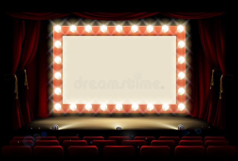 Kino lub theatre z stylowym żarówka znakiem royalty ilustracja