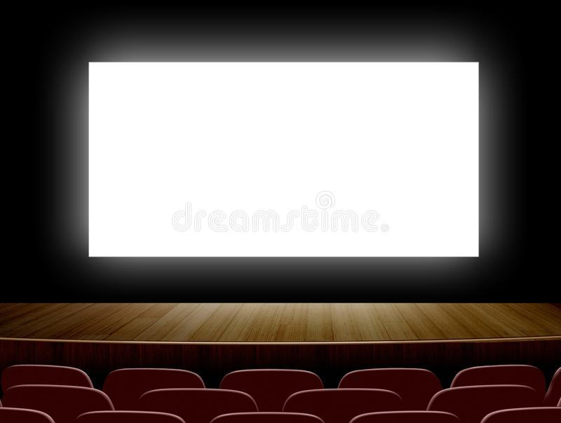 Kino mit weißem Bildschirm und Sitzen vektor abbildung