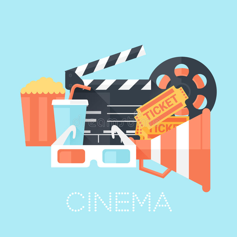 Kino-Plakat mit Glas 3D, Megaphon, Karten, Spule, Scharnierventil-Brett, Popcorn und Getränk Flache Art mit langen Schatten vektor abbildung