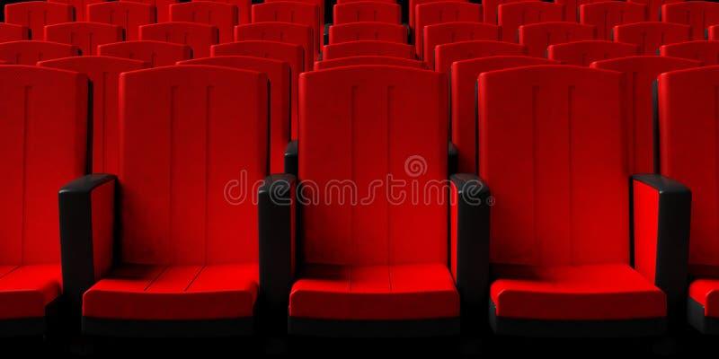 Kino przewodniczy tło, frontowy widok ilustracja 3 d royalty ilustracja