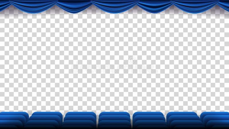 Kino Przewodniczy wektor Film, film, teatr, audytorium Z Błękitnym Seat, krzesła Premiera wydarzenia szablon Super przedstawienie royalty ilustracja