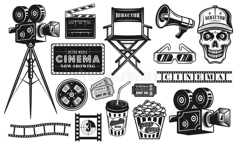 Kino und Kinematographiesatz Vektorgegenstände lizenzfreie abbildung