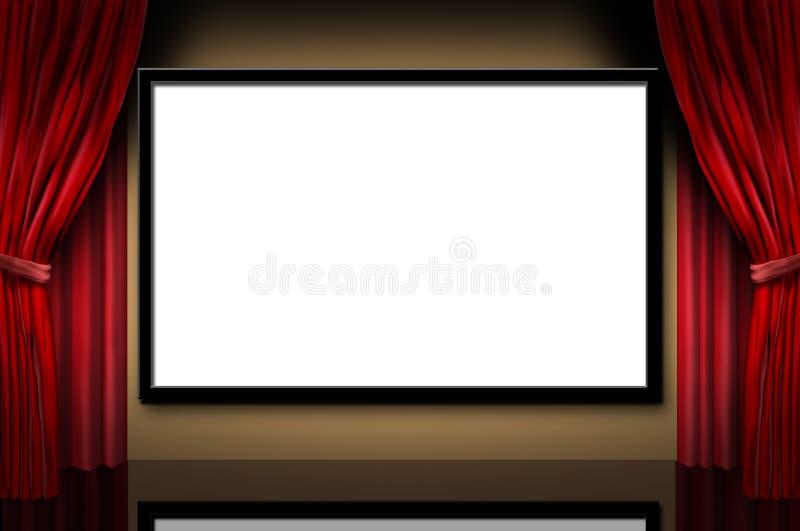 Kinobildschirmanzeigestufefilm-Premieretheater stock abbildung