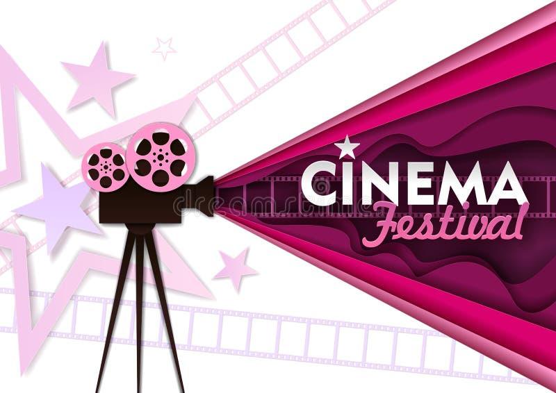 Kinofestivalvektorpapierschnitt-Plakatschablone stock abbildung
