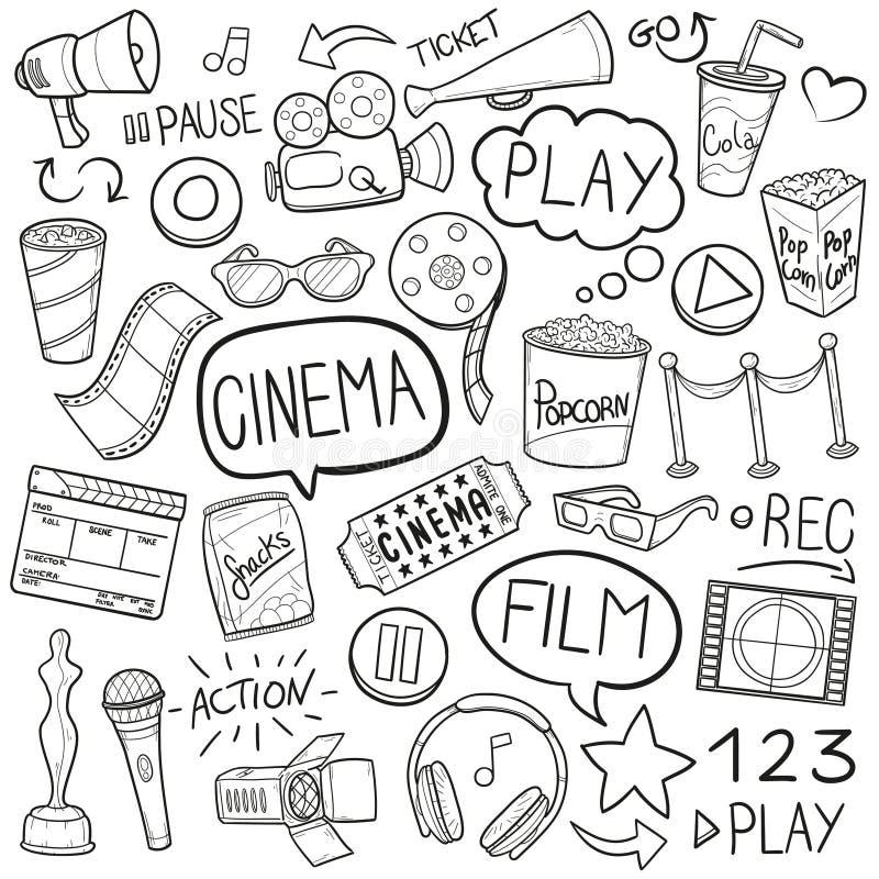 Kinofilm skizzieren traditionelle Gekritzel-Ikonen handgemachten Design-Vektor vektor abbildung