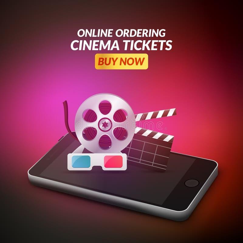 Kinofilmkartenon-line-Bestellungskonzept Bewegliche Kino Smartphone-APP oder Netzreservierung Auch im corel abgehobenen Betrag vektor abbildung