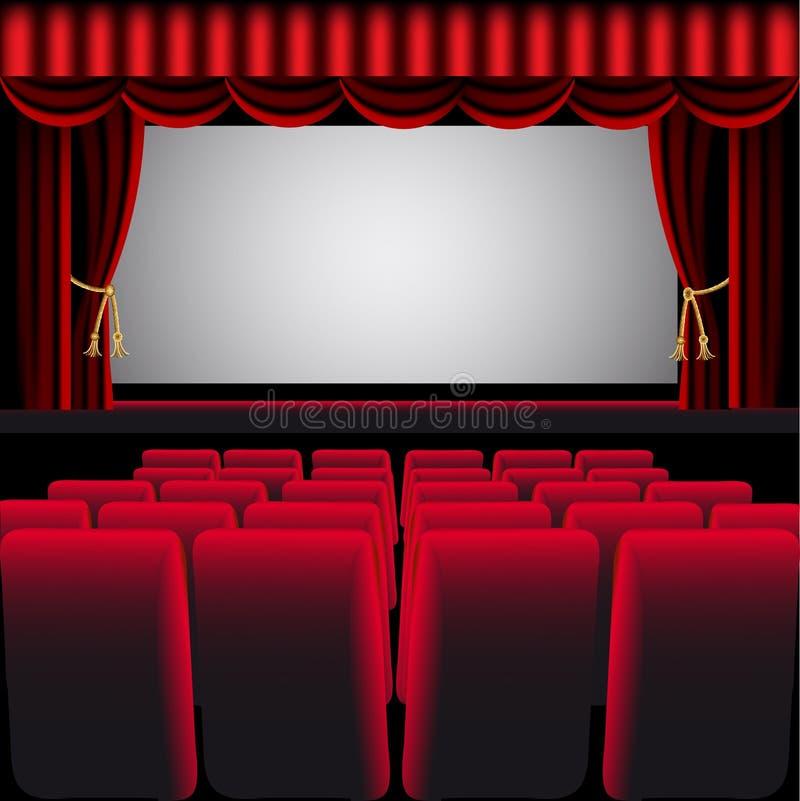 Kinohalle mit rotem Trennvorhang stock abbildung