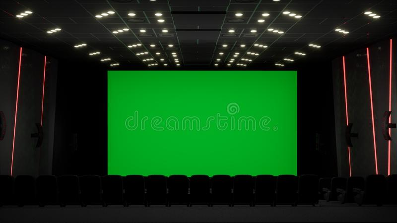 Kinoinnenraum des Filmtheaters mit leerem Kinoschirm mit grünem Schirm und leeren Sitzen Film-Unterhaltung stockfotos
