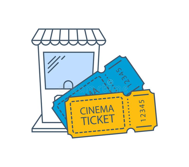 Kinokarten im Kinohallen-Ikonenkonzept Kino, Filmzeit lizenzfreie abbildung