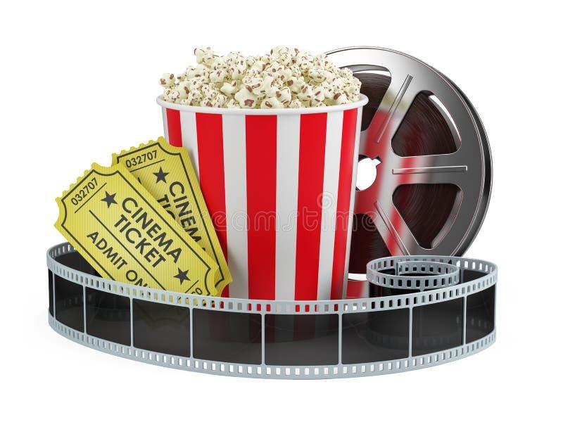 Kinokonzept: Filmrolle, Popcorn, Kino etikettiert lokalisierten weißen Hintergrund lizenzfreie abbildung
