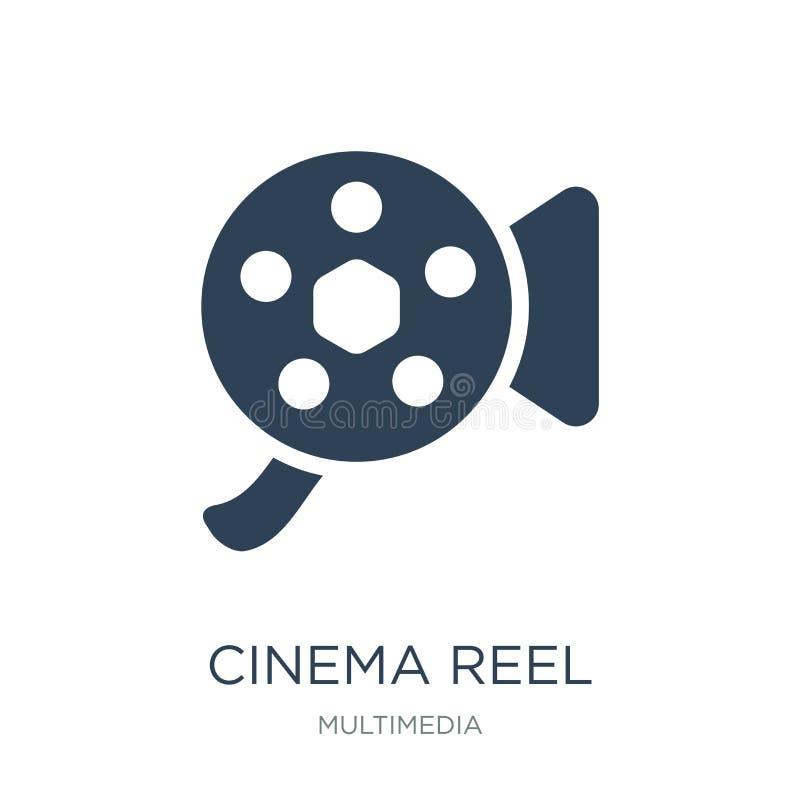 Kinospulen-Videokameraikone in der modischen Entwurfsart Kinospulen-Videokameraikone lokalisiert auf weißem Hintergrund Kinospule stock abbildung