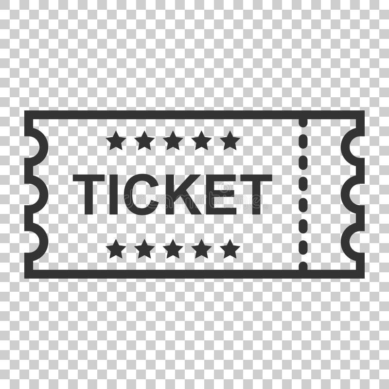 Kinowa biletowa ikona w mieszkanie stylu Przyznaje jeden talonowego wejściowego vect ilustracji
