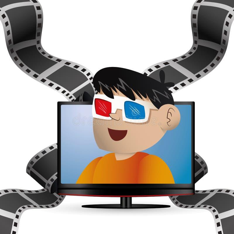 kinowa 3d szkieł chłopiec tv i osocze ilustracja wektor