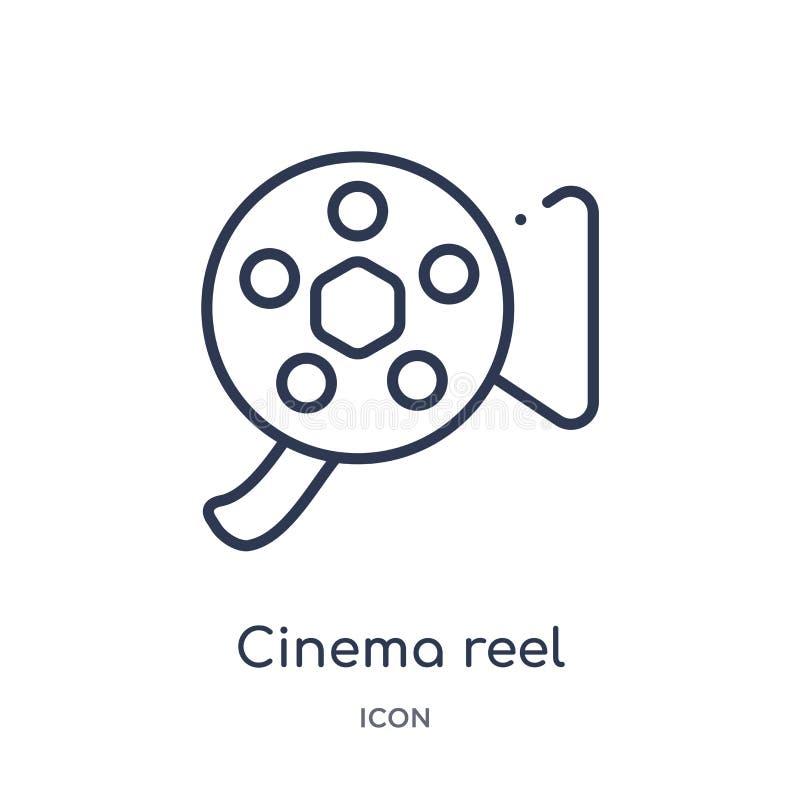 kinowa rolki kamera wideo ikona od multimedii zarysowywa kolekcję Cienka kreskowa kinowa rolki kamera wideo ikona odizolowywająca ilustracja wektor