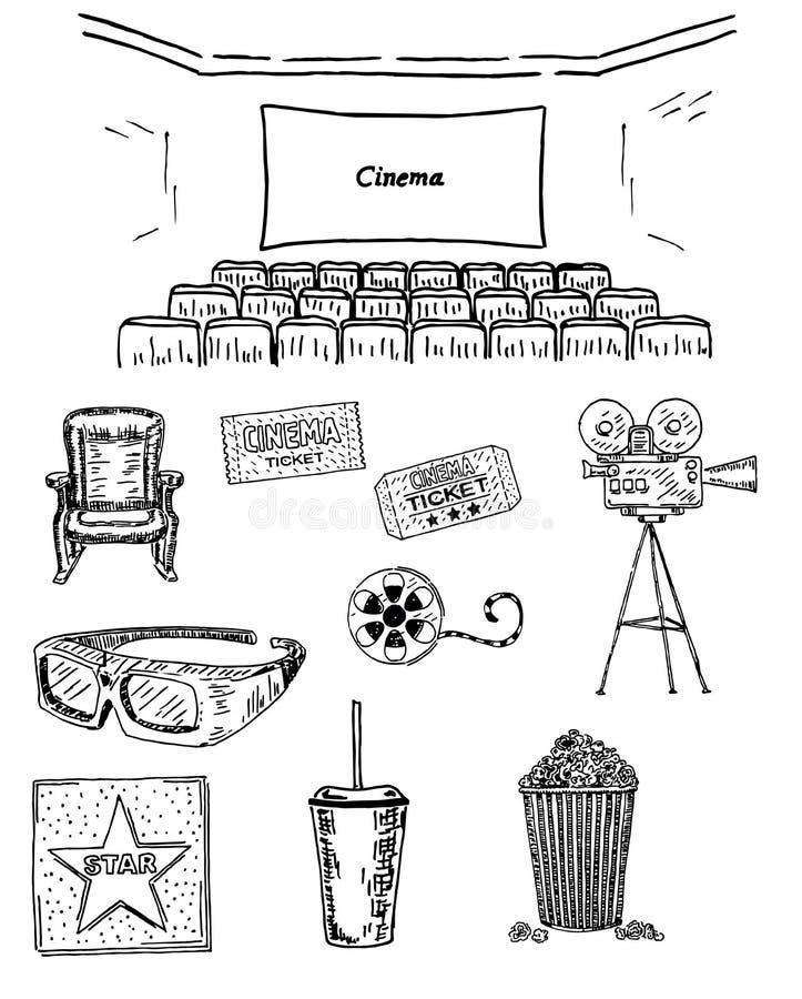 Kinowa ustalona wektorowa ręka rysująca atrament ilustracja ilustracja wektor