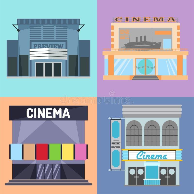 Kinowego budynku filmu rozrywki miasta domu architektury teatru wektorowa ilustracyjna fasadowa powierzchowność ilustracja wektor