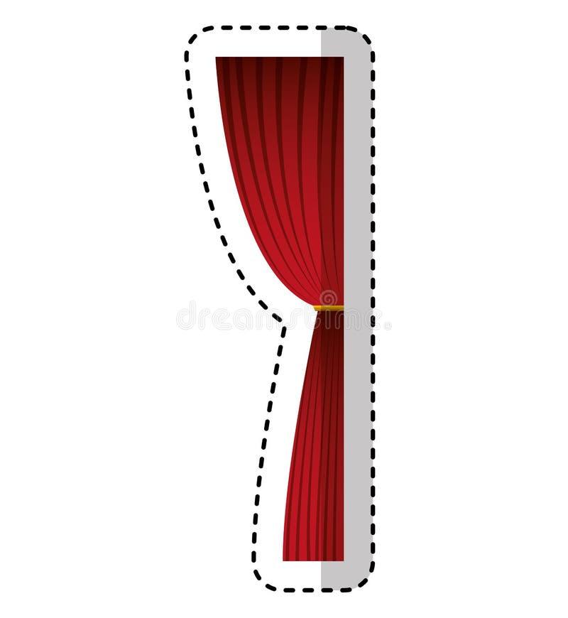 Kinowego courtain odosobniona ikona royalty ilustracja