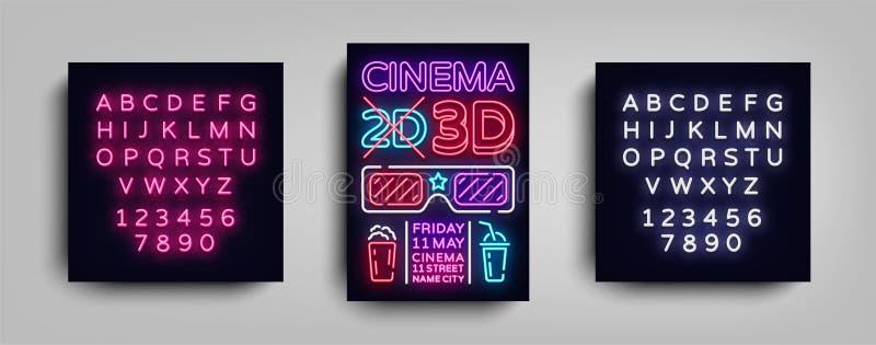 Kinowego 3d projekta plakatowego szablonu neonowy styl Neonowy znak, Lekki sztandar, Jaskrawa ulotka, projekt pocztówka, Promocyj ilustracja wektor