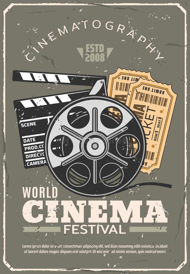 Kinowego festiwalu retro plakat, film i bilety, royalty ilustracja
