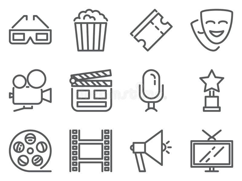 Kinowego piksla perfect ikony Set kreskowi piktogramy 3D szkła, wystrzał kukurudza, bilety, kamera, nagroda, TV, film i inny film ilustracji