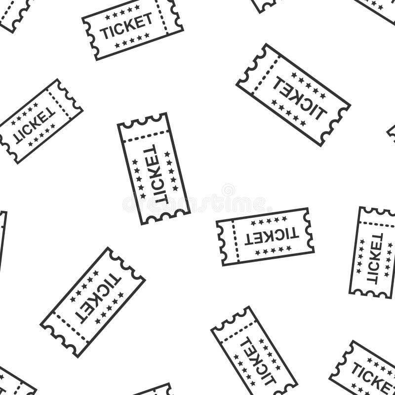 Kinowej biletowej ikony bezszwowy deseniowy tło Przyznaje jeden talonową wejściową wektorową ilustrację Biletowy symbolu wzór ilustracja wektor