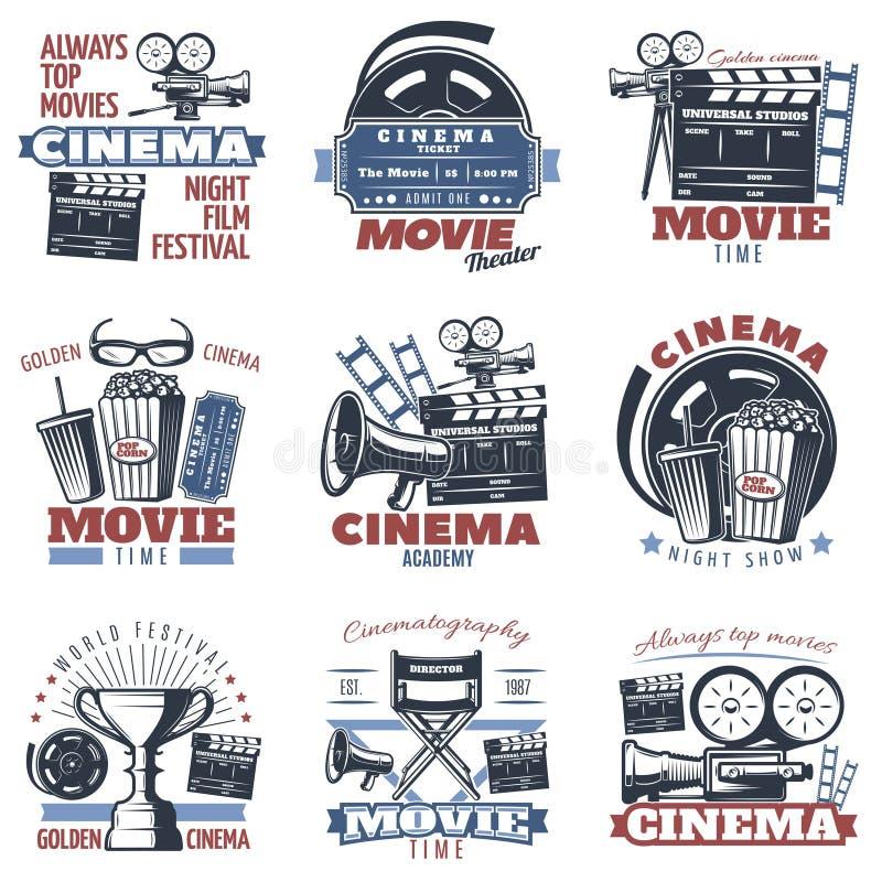 Kinowi emblematy W kolorze ilustracja wektor
