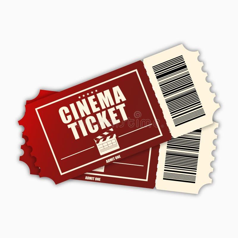 Kinowy bilet Szablon czerwoni realistyczni filmów bilety odizolowywający na białym tle wektor ilustracja wektor