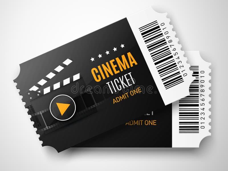 Kinowy bileta tło Wektorowa filmu plakata ilustracja royalty ilustracja