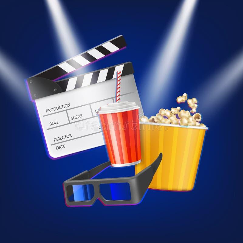 Kinowy clapper, popkorn, 3d szkła i napój, ilustracji
