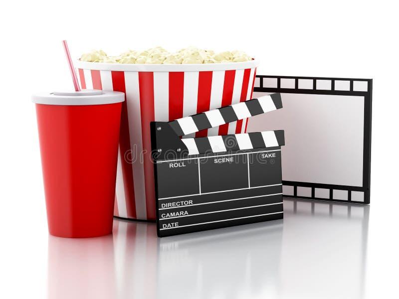 Kinowy clapper, popkorn i napój, 3 d pudełek podobieństwo kolumnę płytki ilustracja wektor