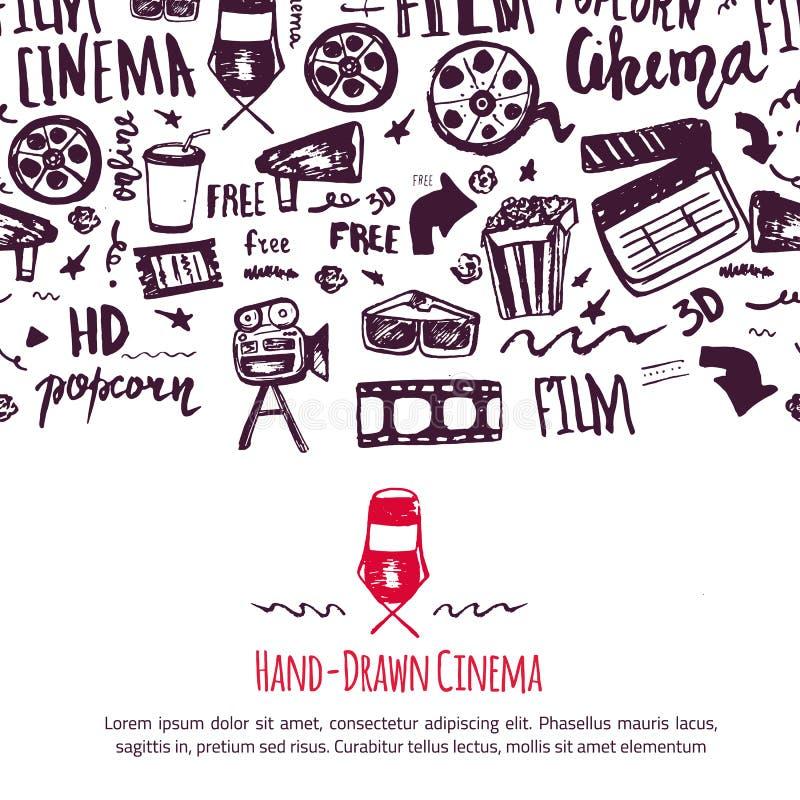 Kinowy festiwalu plakat z bezszwowym wzorem na tle z atrybutami przemysł filmowy Kinematografia projekta rzeczy ilustracji