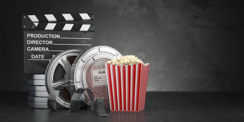 Kinowy filmu pojęcia tło Ekranowa rolka i taśma, popkorn royalty ilustracja