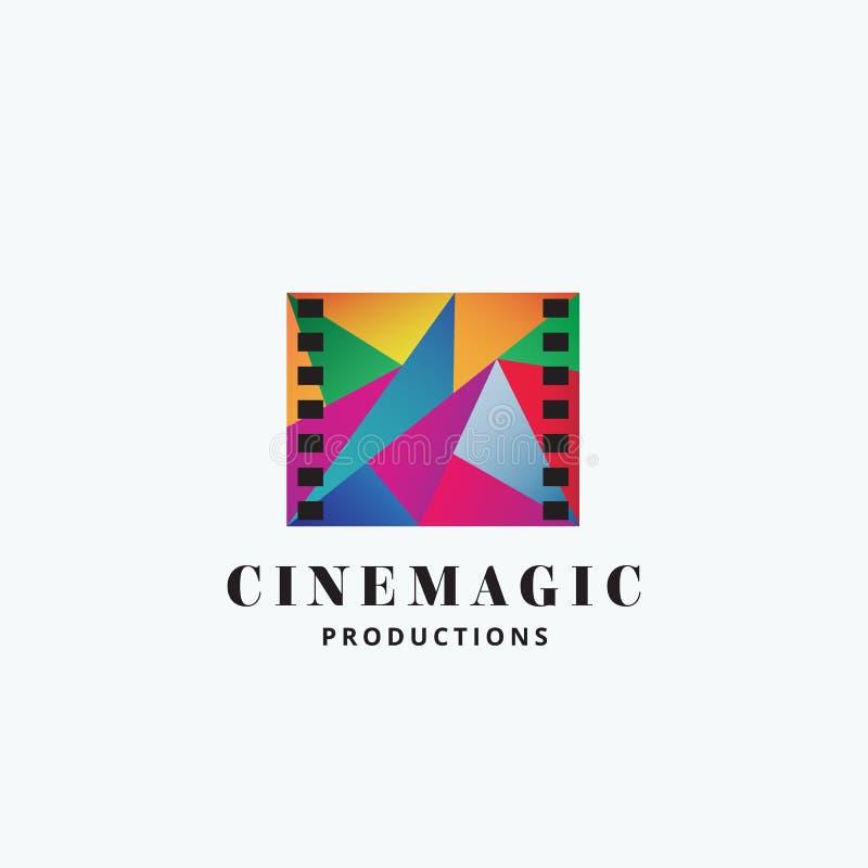 Kinowy Magiczny Abstrakcjonistyczny wektoru znak, emblemat lub loga szablon, Mozaiki Filmstrip symbol z typografią ilustracja wektor