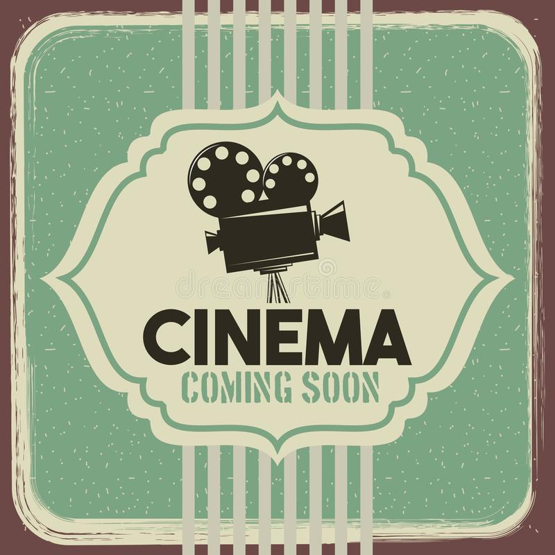 Kinowy plakatowy rocznika projektoru filmu film ilustracji